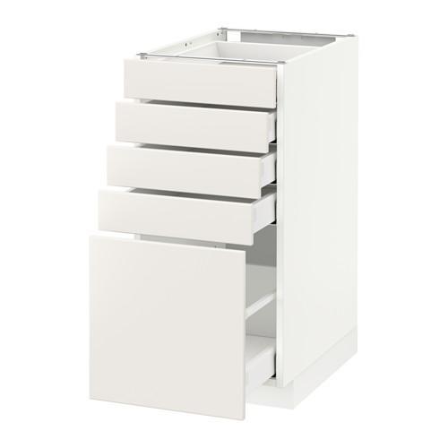 МЕТОД / МАКСИМЕРА Напольный шкаф с 5 ящиками - 40x60 см, Веддинге белый, белый