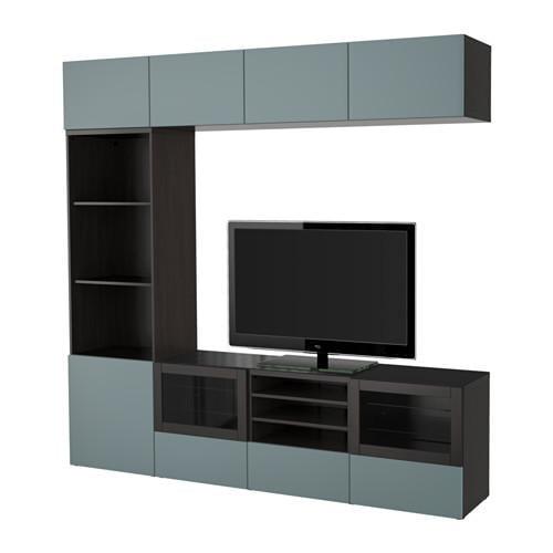 Ikea Tv Kast Meubel.Besto Cabinet For Tv Combin Glass Doors Black And Brown