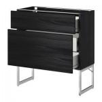 METHOD / wk FORVARA A filling FRNT 2 / 3 average drawers - wood black, Tingsrid wood black, 80x37x60 cm