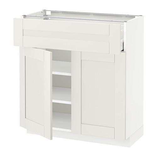 МЕТОД / МАКСИМЕРА Напольный шкаф+ящик/2дверцы - 80x37 см, Сэведаль белый, белый