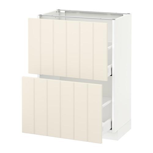 МЕТОД / МАКСИМЕРА Напольный шкаф с 2 ящиками - 60x37 см, Хитарп белый с оттенком, белый