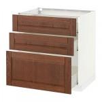 МЕТОД / ФОРВАРА Напольный шкаф с 3 ящиками - 80x60 см, Филипстад коричневый, белый
