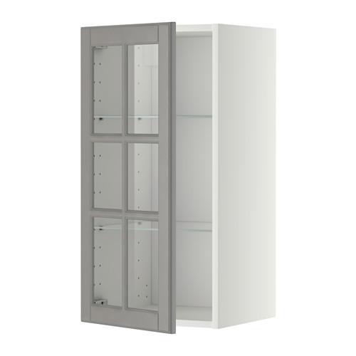 МЕТОД Навесной шкаф с полками/стекл дв - 40x80 см, Будбин серый, белый