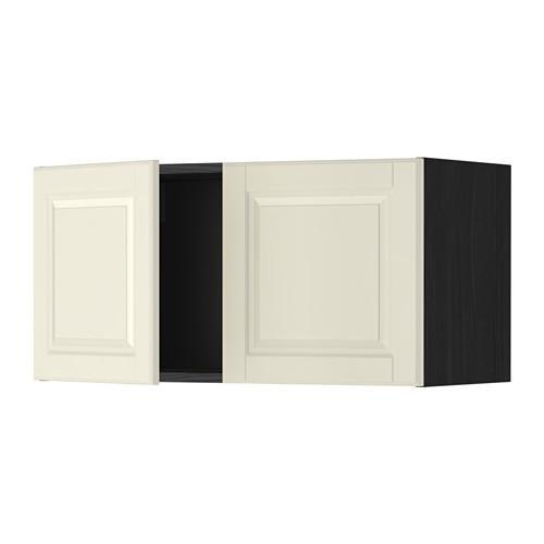 МЕТОД Навесной шкаф с 2 дверями - Будбин белый с оттенком, под дерево черный