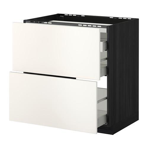 МЕТОД / МАКСИМЕРА Напольн шкаф/2 фронт пнл/3 ящика - 80x60 см, Веддинге белый, под дерево черный