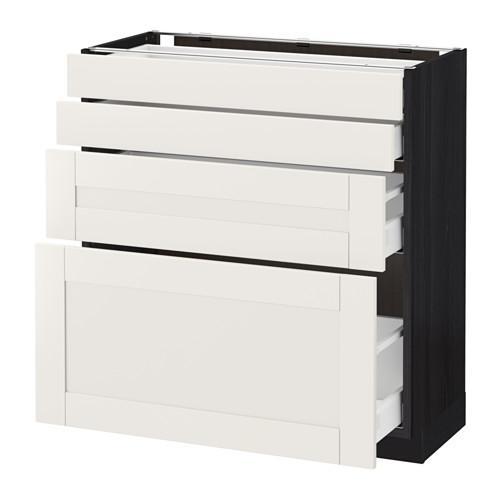 МЕТОД / МАКСИМЕРА Напольн шкаф 4 фронт панели/4 ящика - 80x37 см, Сэведаль белый, под дерево черный