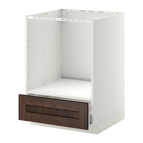 МЕТОД / МАКСИМЕРА Напольный шкаф д/духовки, с ящиком - Эдсерум под дерево коричневый, белый