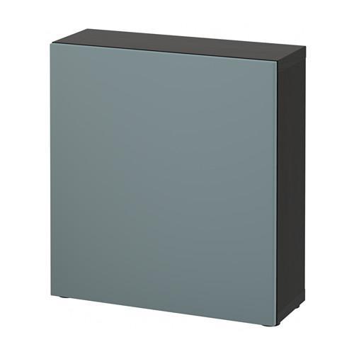 БЕСТО Стеллаж с дверью - черно-коричневый/Вальвикен серо-бирюзовый