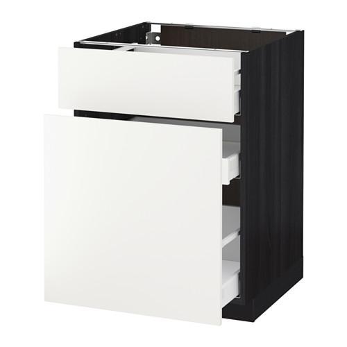 МЕТОД / МАКСИМЕРА Напольн шкаф/выдвижн секц/ящик - 60x60 см, Хэггеби белый, под дерево черный
