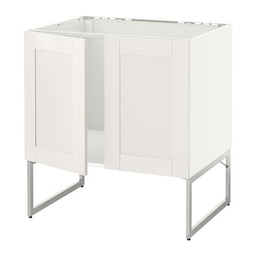 МЕТОД Напольн шкаф д раковины+2 двери - Сэведаль белый, белый