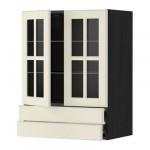 МЕТОД / ФОРВАРА Навесной шкаф/2 стек дв/2 ящика - 60x80 см, Будбин белый с оттенком, под дерево черный