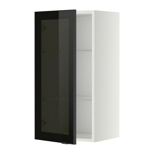 МЕТОД Навесной шкаф с полками/стекл дв - 40x80 см, Ютис дымчатое стекло/черный, белый