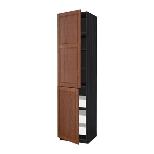 МЕТОД / МАКСИМЕРА Высокий шкаф+полки/3 ящика/2 дверцы - 60x60x240 см, Филипстад коричневый, под дерево черный