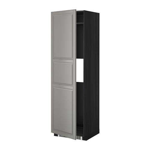 МЕТОД Выс шкаф д/холод или мороз, с дверц - Будбин серый, под дерево черный