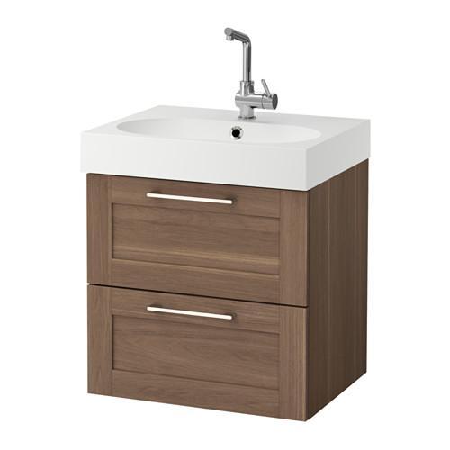 BRÅVIKEN / GODMORGON skrinka na umývadlo s 2 zásuvkou na orech 61x49x68 cm
