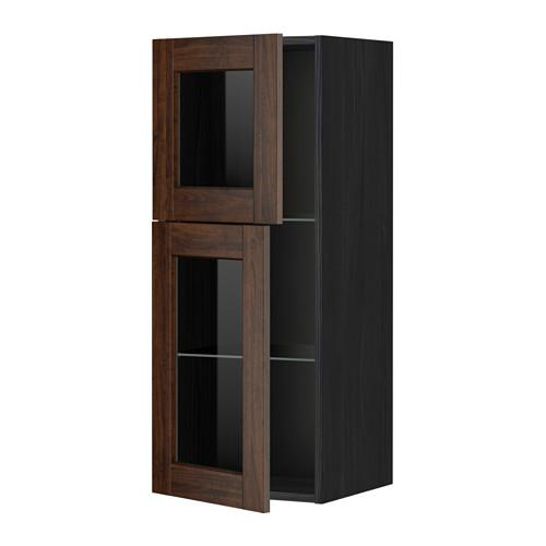 МЕТОД Навесной шкаф с полками/2 стекл дв - под дерево черный, Эдсерум под дерево коричневый