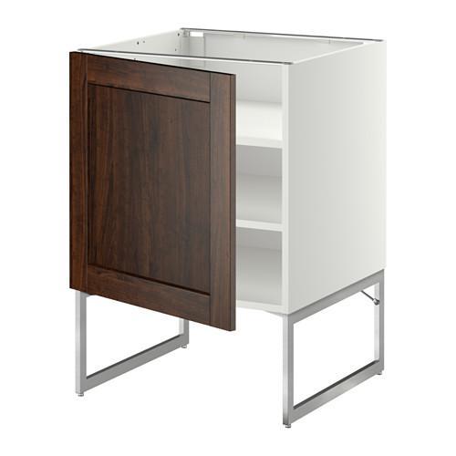 МЕТОД Напольный шкаф с полками - 60x60x60 см, Эдсерум под дерево коричневый, белый