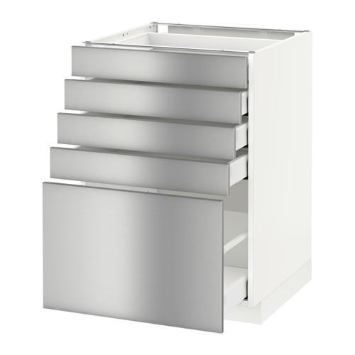 МЕТОД / МАКСИМЕРА Напольный шкаф с 5 ящиками - 60x60 см, Гревста нержавеющ сталь, белый