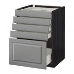 MÉTODO gabinete / Base FORVARA con cajones 5 - 60x60 cm Budbin gris, madera negro