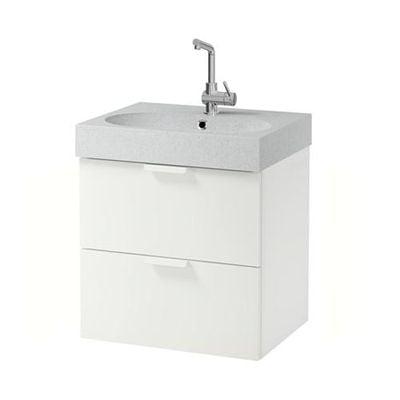 GODMORGON / Bråviken armadietto affonda con cassetti 2 - bianco / grigio chiaro