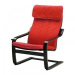 Poeng Armchair - Alma classic red, black and brown