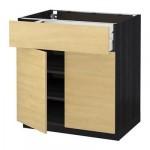 МЕТОД / МАКСИМЕРА Напольный шкаф+ящик/2дверцы - 80x60 см, Тингсрид под березу, под дерево черный