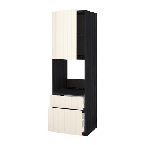 METHOD / MAXIMER High cabinet for perfume + door / 2 drawer - for wood black, Hitharp white with hue, 60x60x200 cm
