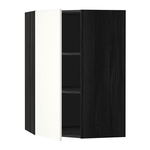 МЕТОД Угловой навесной шкаф с полками - 68x100 см, Хэггеби белый, под дерево черный