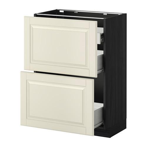 VERFAHREN / FORVARA Nap Schrank 2 FRNT PNL / 1nizk / 2sr Schubladen - Holz schwarz, weiß mit einem Hauch von Budbin, 60x37 cm