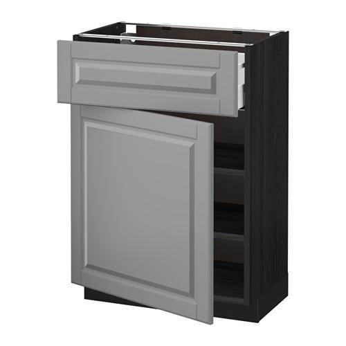 МЕТОД / МАКСИМЕРА Напольный шкаф с ящиком/дверью - 60x37 см, Будбин серый, под дерево черный