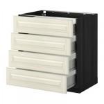 МЕТОД / ФОРВАРА Напольн шкаф 4 фронт панели/4 ящика - 80x60 см, Будбин белый с оттенком, под дерево черный