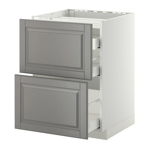 МЕТОД / МАКСИМЕРА Напольн шкаф/2 фронт пнл/3 ящика - 60x60 см, Будбин серый, белый