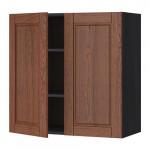 МЕТОД Навесной шкаф с полками/2дверцы - 80x80 см, Филипстад коричневый, под дерево черный