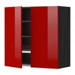 МЕТОД Навесной шкаф с посуд суш/2 дврц - 80x80 см, Рингульт глянцевый красный, под дерево черный