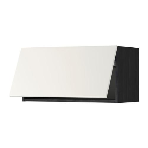 МЕТОД Горизонтальный навесной шкаф - 80x40 см, Веддинге белый, под дерево черный