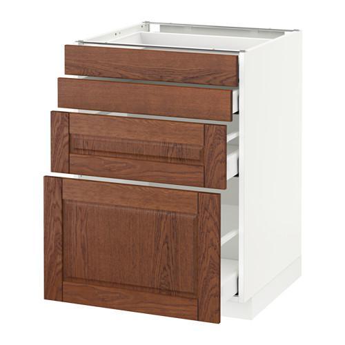 МЕТОД / МАКСИМЕРА Напольн шкаф 4 фронт панели/4 ящика - 60x60 см, Филипстад коричневый, белый