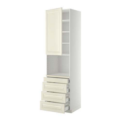 МЕТОД / МАКСИМЕРА Высокий шкаф д/комбинир СВЧ/4 ящика - 60x60x220 см, Будбин белый с оттенком, белый