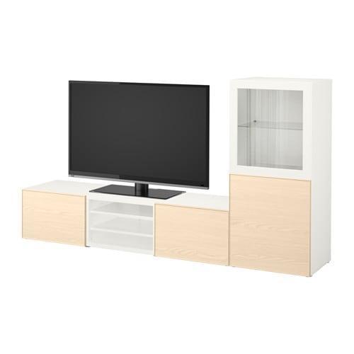 Mobile TV BESTA, combinazione / ante in vetro - bianco Inviken / vetro  impiallacciato frassino, guide per cassetto, senza chiusura