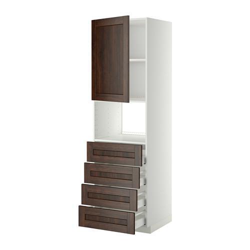 МЕТОД / МАКСИМЕРА Высок шкаф д/духовки/дверца/4ящика - 60x60x200 см, Эдсерум под дерево коричневый, белый