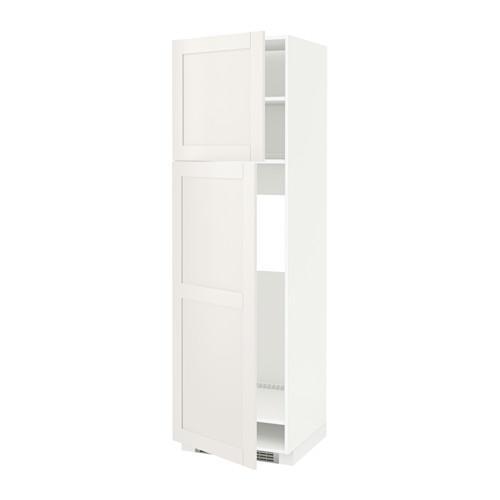 МЕТОД Высокий шкаф д/холодильника/2дверцы - 60x60x200 см, Сэведаль белый, белый