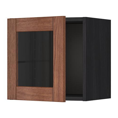 МЕТОД Навесной шкаф со стеклянной дверью - под дерево черный, Филипстад коричневый