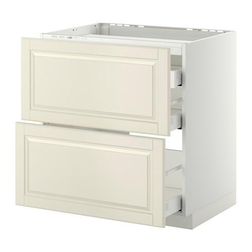 МЕТОД / МАКСИМЕРА Напольн шкаф/2 фронт пнл/3 ящика - 80x60 см, Будбин белый с оттенком, белый