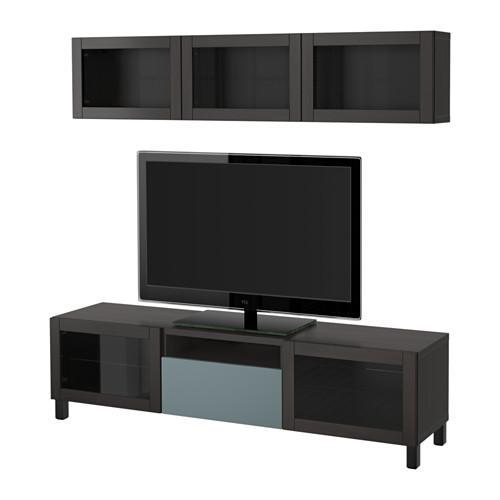 best tv schrank kombinierte glast ren schwarzbraun grau t rkis valviken transparentes. Black Bedroom Furniture Sets. Home Design Ideas