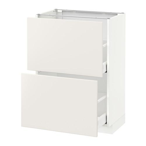 МЕТОД / МАКСИМЕРА Напольный шкаф с 2 ящиками - 60x37 см, Веддинге белый, белый
