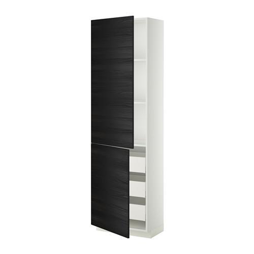 МЕТОД / МАКСИМЕРА Высокий шкаф+полки/3 ящика/2 дверцы - 60x37x200 см, Тингсрид под дерево черный, белый