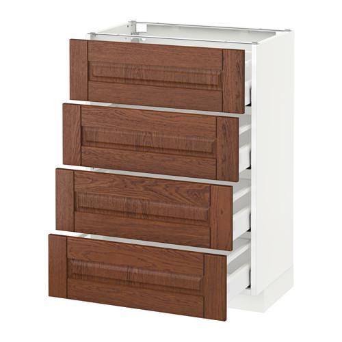 МЕТОД / МАКСИМЕРА Напольн шкаф 4 фронт панели/4 ящика - 60x37 см, Филипстад коричневый, белый