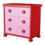 МАММУТ Комод с 3 ящиками - розовый/красный