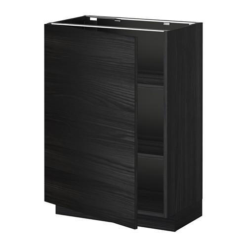 МЕТОД Напольный шкаф с полками - 60x37 см, Тингсрид под дерево черный, под дерево черный