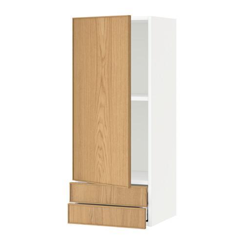 МЕТОД / МАКСИМЕРА Навесной шкаф с дверцей/2 ящика - 40x100 см, Экестад дуб, белый