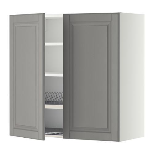 МЕТОД Навесной шкаф с посуд суш/2 дврц - 80x80 см, Будбин серый, белый